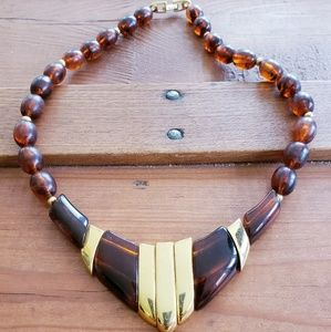 VINTAGE NECKLACE NAPIER GOLD AMBER TONED BEADED